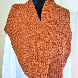 Pumpkin Colored infinity crochet scarf